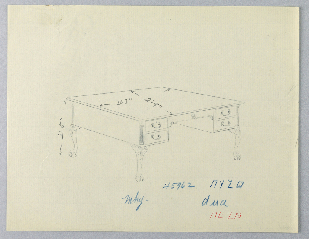 Drawing, Design for Library Table with Lion-Paw Feet