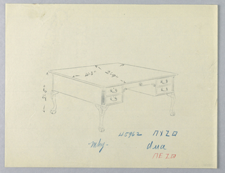 Drawing, Design for Library Table with Lion-Paw Feet, 1900–05