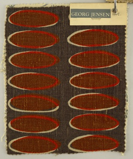 Sample with two colums of brown elongated ovals outlined with red and reserve white on a dark grey ground.
