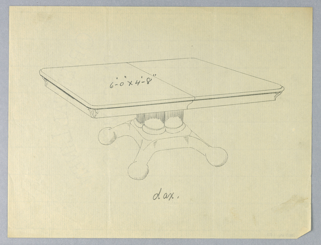 Rectangular molded top with dividing stretcher running across center and acanthus-leaf motifs at corners, raised on support of  4 [3 shown] clustered columns, sitting atop molded base terminating in 4 [three shown] short splayed legs on ball-shaped feet.