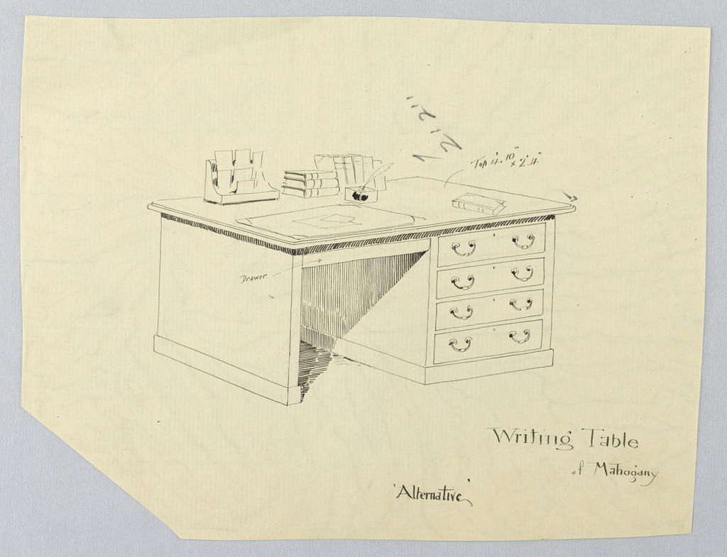 Drawing, Design for Massive Rectangular Writing Table with Four Drawers at Right