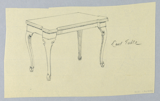 Drawing, Design for Rectangular Card Table with Volute-like Feet