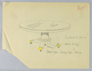 Round and molded table top with a dividing stretcher running across the center; is raised on a plain column-like support sitting atop a molded base on splayed legs with brass sabots on casters indicated by yellow color pencil.