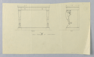 """Drawing, Design for Mahogany Hall Table """"B"""" in Two Views"""