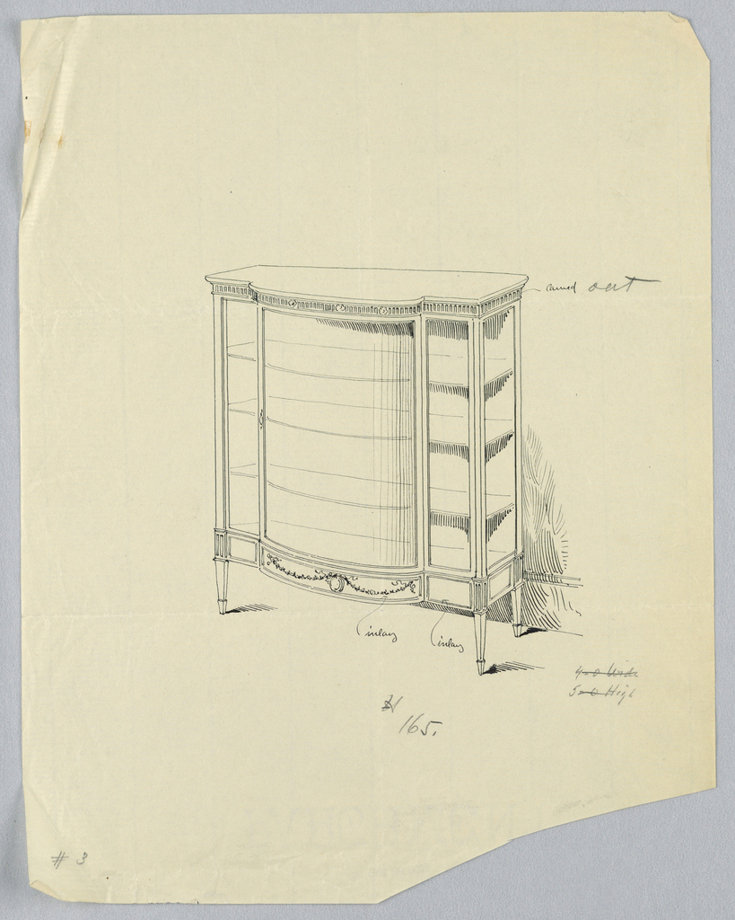 Oblong cabinet with convex center front, raised on 4 short tapering legs and has 3 shelves; top carved; center bottom inlaid with medallion suspended on floral garlands.