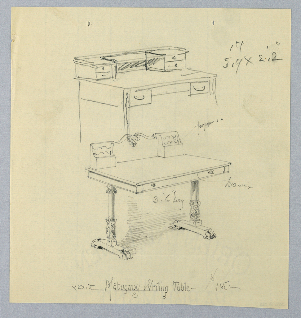 """Drawing, Design and Sketch for """"MahoganyWriting Table"""""""