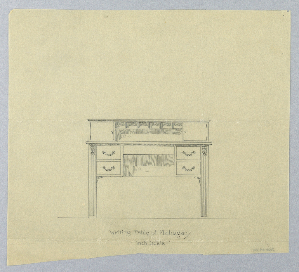 Rectangular table top raised on 4 legs, front 2 legs are massive, reeded, and straight and have carved ornamental vase at tops; center: horizontal blind drawer flanked by 4 short drawers with C-shaped single handles at centers, set of drawers supported by small triangular spandrels; top has open central compartment with 6 small compartments at top flanked by 2 doors.