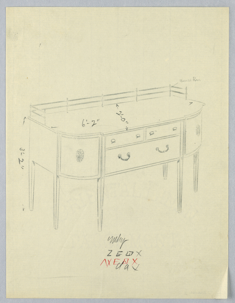 Sideboard with six tapered straight legs; double brass railing along top back; two small drawers over one larger drawer; a medallion design on each of rounded front corners.