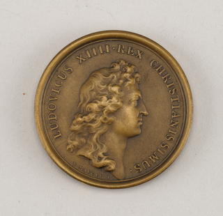 Medal commemorating the accession of the Isle of Corsica. Obverse: Bust of Louis XIV. Reverse: Roma seated.