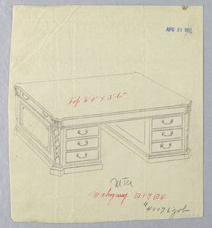 Drawing, Design for Massive Library Table #40076 with Squared Pilaster Legs, 1900–05