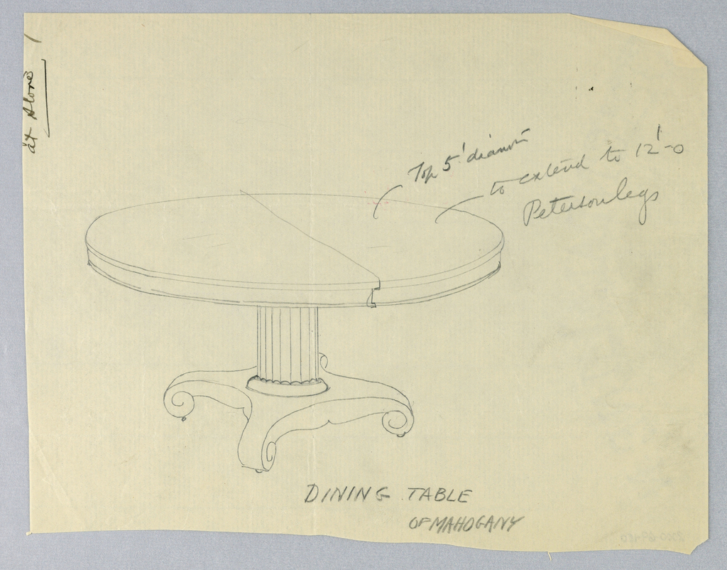 """Round molded top with dividing stretcher running across center, raised on fluted columnar support, sitting atop """"X""""-shaped molded base terminating in scroll-like feet on casters."""
