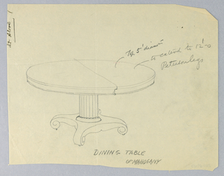 "Round molded top with dividing stretcher running across center, raised on fluted columnar support, sitting atop ""X""-shaped molded base terminating in scroll-like feet on casters."