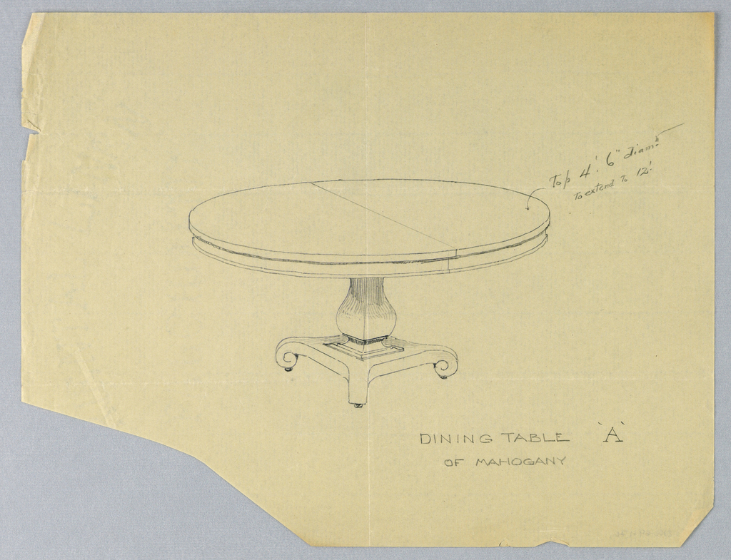 """Round molded top with dividing stretcher running across center, raised on baluster-like support on rectangular platform, sitting atop molded """"X""""-shaped base terminating in scroll-like feet on casters."""