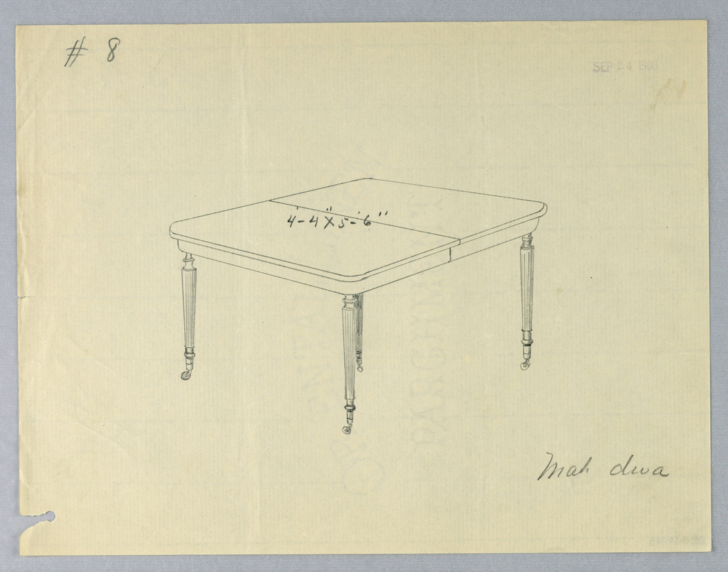 Rectangular molded top with dividing stretcher running across center raised on 4 fluted and turned tapering legs on casters.