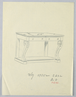 Drawing, Design for Console Table with Two Drawers