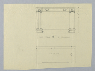 """Drawing, Design for Hall Table """"A"""" of Mahogany"""