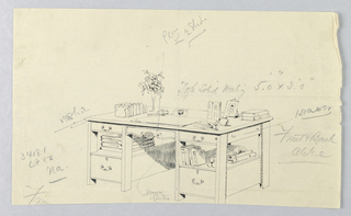 Drawing, Design for Library Table #34181 with Books Filling Stretcher Shelves
