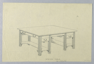 """Drawing, Design for Writing Table """"A"""" with Concave Stretcher Shelves, 1900–05"""