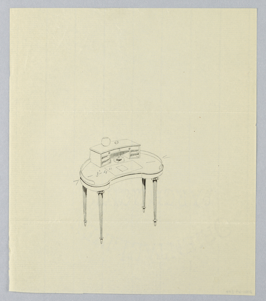 Drawing, Design for Kidney-Shaped Writing Table with Empty Vase Atop