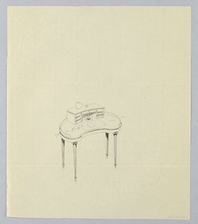 Drawing, Design for Kidney-Shaped Writing Table with Empty Vase Atop, 1900–05