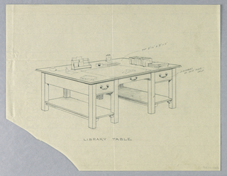 Drawing, Design for Library Table with Open Side Stretcher Shelves and Drawers on One Side, 1900–05