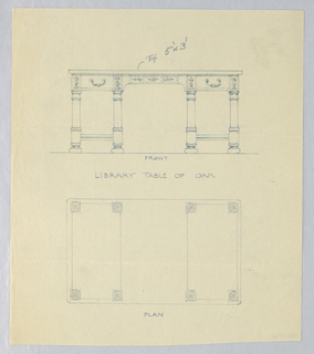 Drawing, Design for Library Table of Oak with Eight Legs, in Two Views, 1900–05