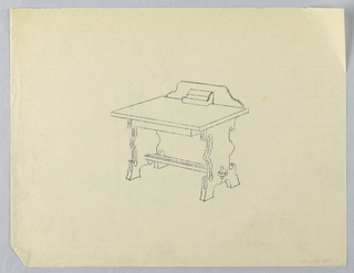 Drawing, Tracing of Design for Writing Table in the Mission Style, 1900–05