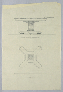 Drawing, Design for Dining Table for Mrs. S.R. Anthony, 1900–05