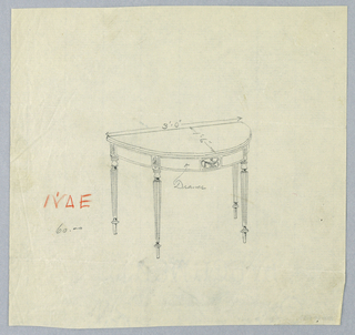 Drawing, Design for Oval Card Table with Drawer