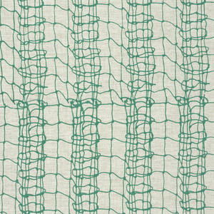 Length of printed fabric with fine black lines forming a fishnet-like pattern with vertical columns of alternately denser or less dense lines.