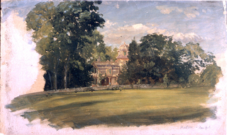 Horizontal view of a house with tower, in the center middle distance, flanked by and in front of trees.  In the foreground is a lawn which is bordered at the rear by a low stone wall.  The creamy ground color is visible at the lower right and left edges.