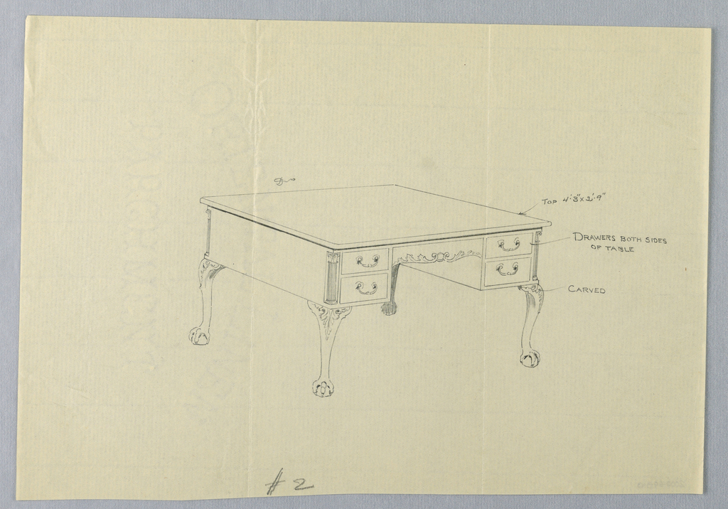 Drawing, Design for Writing Table No. 2 and Lion-Paw Feet