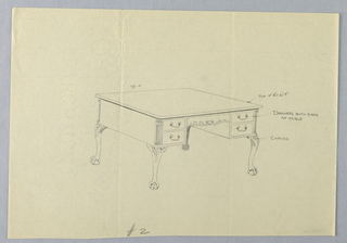 Drawing, Design for Writing Table No. 2 and Lion-Paw Feet, 1900–05