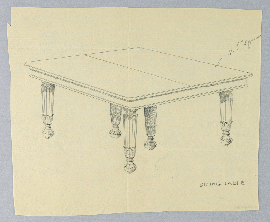 Drawing, Design for Dining Table, 1900–05