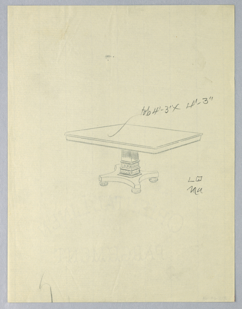 Drawing, Design for a Square Dining Table on Bun Feet