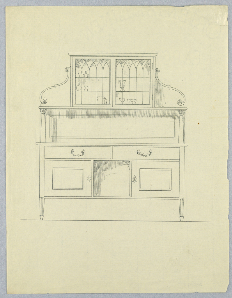 Rectangular sideboard on short fluted tapering legs; tri-partite front  has open space at center surmounted by 2 drawers; glass display case atop flanked by side supports carved in scroll motifs.
