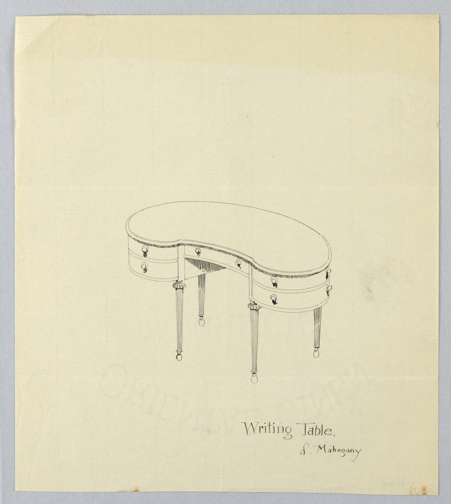 Kidney-shaped writing table with single horizontal drawer with 2 round pulls flanked by 4 convex side drawers with pair of round pulls on each; raised on 4 fluted, tapering legs with molded and carved tops terminating.