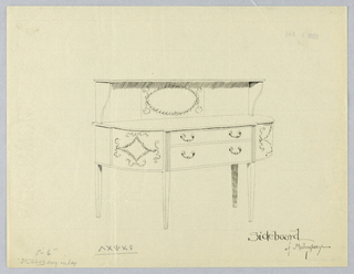 "Sideboard with four straight tapering legs (the front two with fluted tops) and semi-circular front - flat in middle portion - with two horizontal drawers with ""C""-shaped handles; neo-classical motifs on rounded front corners and center back; upper shelf raised on scroll-shaped volutes."