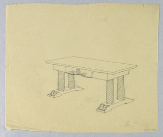 Drawing, Design Sketch for Library Table with Carved Columnar Legs on Two Narrow Bases, 1900–05
