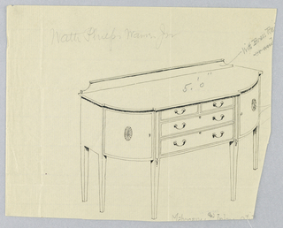 "Sideboard with rounded corners on six straight tapering legs has and flat central front section containing  four drawers - two smaller drawers side-by-side over two larger drawers atop each other; ""C""-shaped handles and keyholes on each drawer; a door decorated with patera medallion design on either side of center front; floral decorations on four of legs; backsplash."