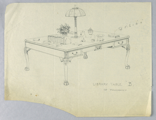 """Drawing, Design for Library Table """"B"""" with Ornate Lions-Paw Feet and Lamp Atop, 1900–05"""