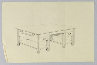 Drawing, Design for Massive Library Table with Narrow Side Pull-Out Shelf, 1900–05