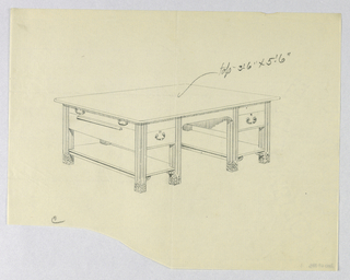 """Drawing, Design for Library Table """"C"""" with Slightly Arched Cut-Out at Center and Two Stretcher Shelves, 1900–05"""