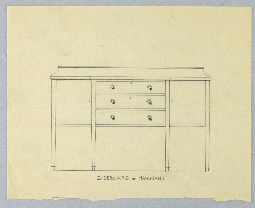 Rectangular sideboard with three drawers center, each with pair round pulls and flanked by two doors; low backsplash.