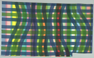 Cotton with hand-pulled stripes of red, pink, orange, yellow, teal, and light blue, with a plaid of straight and curving lines applied on top in emerald green and navy.