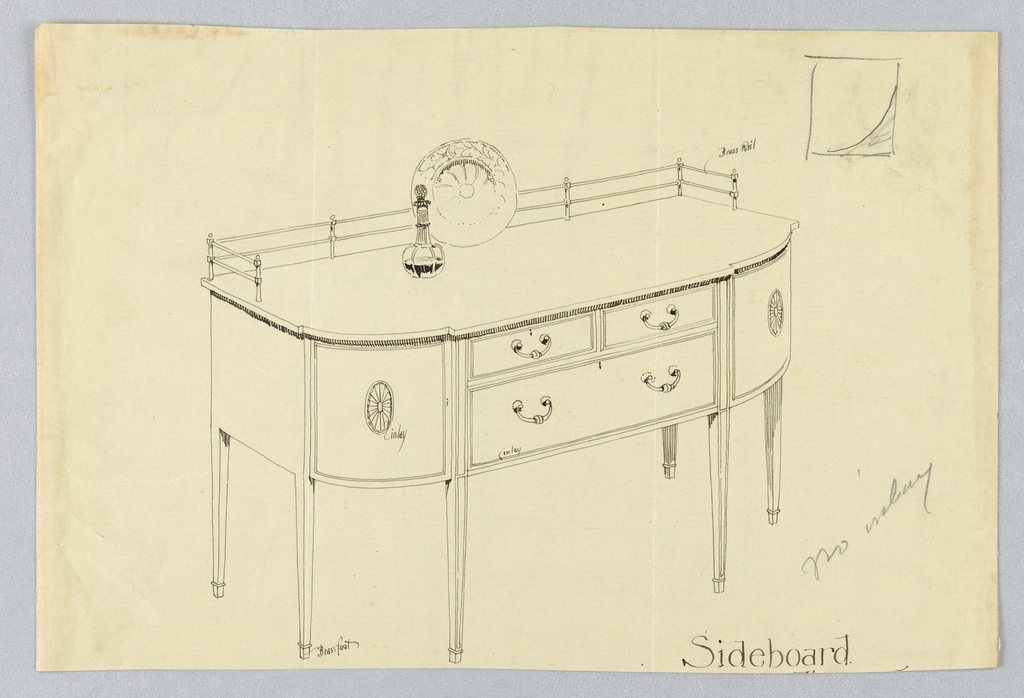 Rectangular sideboard with rounded corners and six straight tapered legs; flat front has three drawers: two smaller ones side-by-side over one larger one; side panels decorated in patera medallions; brass rail at back of top; sketch of wine decanter and dish atop sideboard; also slight sketch of rectangle upper right corner.