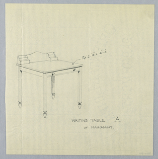 Simple two-tiered writing desk raised on 4 square legs terminating in inverted flame-shaped feet; narrow drawer