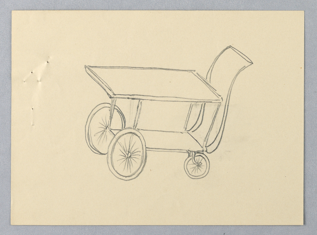 """Trolley-like serving table on wheels in three-quarter view; two stacked trays; handles attached to back of top tray; bottom tray has pair of bicycle wheels attached at front and pair smaller wheels attached at back; long """"S""""-shaped steering handle attached to bottom tray and extends to just below top tray."""