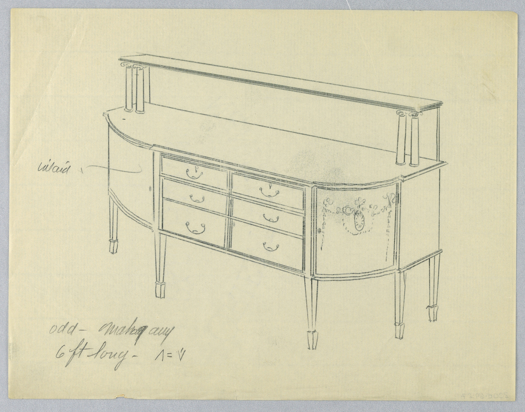 Large sideboard on six short straight tapered legs; rounded front corners decorated with neo-classical motifs; extended back and pair of columns on either side support top shelf; flat central section on front contains six drawers of approximately equal size in three rows.