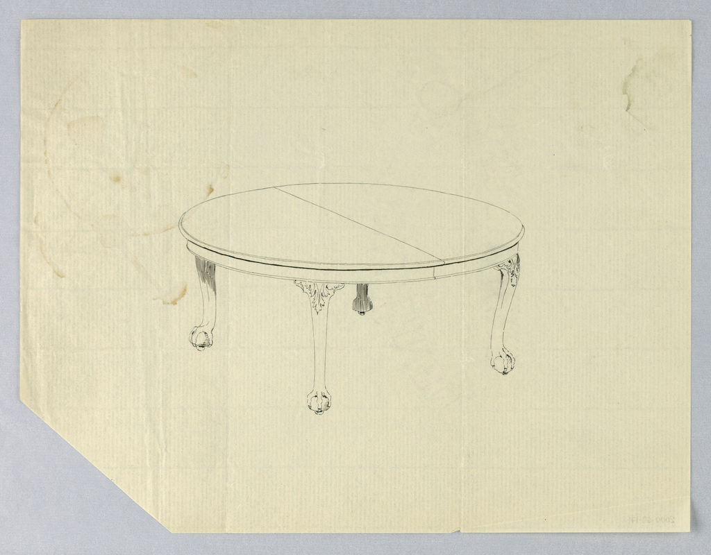Round molded table top with dividing stretcher running across center, raised on 4 carved cabriole legs with acanthus leaves at tops, terminating in ball-and-claw feet on casters.